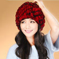 Women Knitted Rex Rabbit Fur Hats Thicker Winter Handmade Thermal Twill Caps - Red