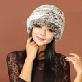Women Knitted Rex Rabbit Fur Hats Thicker Winter Handmade Warm Peaked Caps - Black