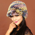 Women Knitted Rex Rabbit Fur Hats Thicker Winter Handmade Warm Peaked Caps - Multicolor