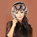 Women Knitted Rex Rabbit Fur Hats Thicker Winter Warm Ear protector Caps - Brown Black