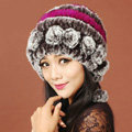 Women Knitted Rex Rabbit Fur Hats Thicker Winter Warm Ear protector Caps - Brown Purple