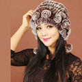 Women Knitted Rex Rabbit Fur Hats Thicker Winter Warm Ear protector Caps - Brown