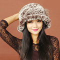 Women Knitted Rex Rabbit Fur Hats Thicker Winter Warm Flower Ear protector Caps - Brown