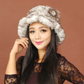 Women Knitted Rex Rabbit Fur Hats Thicker Winter Warm Flower Ear protector Caps - White