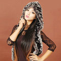 Women Knitted Rex Rabbit Fur Hats Winter Thicker Ear protector Scarf Warm Caps - Black