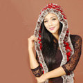 Women Knitted Rex Rabbit Fur Hats Winter Thicker Ear protector Scarf Warm Caps - Red