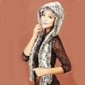 Women Knitted Rex Rabbit Fur Hats Winter Thicker Ear protector Scarf Warm Caps - White