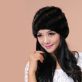 Women Mink hair Fur Hat Winter Thicker Warm Handmade Knitted Twill Caps - Black Brown