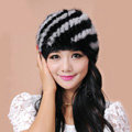 Women Mink hair Fur Hat Winter Thicker Warm Handmade Knitted Twill Caps - Black Grey