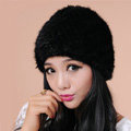 Women Mink hair Fur Hat Winter Thicker Warm Handmade Knitted Twill Caps - Black