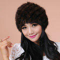 Women Mink hair Fur Hat Winter Thicker Warm Handmade Knitted Twill Caps - Coffee