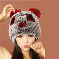 Women Rex Rabbit Fur Hats Knitted Thicker Winter Warm Cute Panda Caps - Black Red