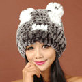 Women Rex Rabbit Fur Hats Knitted Thicker Winter Warm Cute Panda Caps - Black White