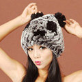 Women Rex Rabbit Fur Hats Knitted Thicker Winter Warm Cute Panda Caps - Black