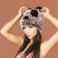 Women Rex Rabbit Fur Hats Knitted Thicker Winter Warm Cute Panda Caps - Brown