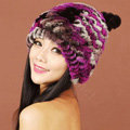 Women Rex Rabbit Fur Hats Knitted Thicker Winter Warm Cute Panda Caps - Purple