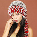Women Rex Rabbit Fur Hats Knitted Thicker Winter Warm Ear protector Caps - Black Red