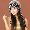 Women Rex Rabbit Fur Hats Knitted Thicker Winter Warm Ear protector Caps - Black