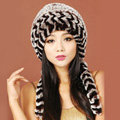 Women Rex Rabbit Fur Hats Knitted Thicker Winter Warm Ear protector Caps - Brown Black