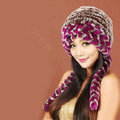 Women Rex Rabbit Fur Hats Knitted Thicker Winter Warm Ear protector Caps - Brown Purple