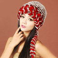 Women Rex Rabbit Fur Hats Knitted Thicker Winter Warm Ear protector Caps - Red Brown