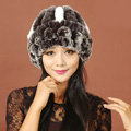 Women Rex Rabbit Fur Hats Knitted Thicker Winter Warm Flower lace Caps - Black
