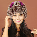 Women Rex Rabbit Fur Hats Knitted Thicker Winter Warm Flower lace Caps - Brown Purple