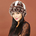 Women Rex Rabbit Fur Hats Knitted Thicker Winter Warm Flower lace Caps - Brown White