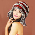 Women Rex Rabbit Fur Hats Knitted Thicker Winter Warm Tassel Ear protector Caps - Red