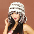 Women Rex Rabbit Fur Hats Knitted Thicker Winter Warm Tassel Ear protector Caps - White