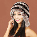 Women Rex Rabbit Fur Hats Knitted Thicker Winter Warm fur ball Ear protector Caps - Black