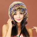 Women Rex Rabbit Fur Hats Knitted Thicker Winter Warm fur ball Ear protector Caps - Multicolor