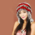 Women Rex Rabbit Fur Hats Knitted Thicker Winter Warm fur ball Ear protector Caps - Red