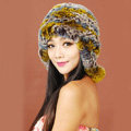 Women Rex Rabbit Fur Hats Knitted Thicker Winter Warm fur ball Ear protector Caps - Yellow