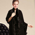 100% Wool Wraps Rabbit Fur Scarf Shawls Female Winter Warm Pashmina - Black