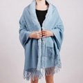 100% Wool Wraps Rabbit Fur Scarf Shawls Female Winter Warm Pashmina - Blue