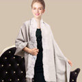 100% Wool Wraps Rabbit Fur Scarf Shawls Female Winter Warm Pashmina - Light Gray