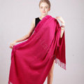 100% Wool Wraps Rabbit Fur Scarf Shawls Female Winter Warm Pashmina - Rose