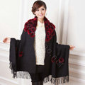 100% Wool Wraps Rabbit Fur Scarf Shawls Flowers Female Winter Warm Pashmina - Black