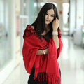 100% Wool Wraps Rabbit Fur Scarf Shawls Flowers Female Winter Warm Pashmina - Red