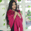 100% Wool Wraps Rabbit Fur Scarf Shawls Flowers Female Winter Warm Pashmina - Rose