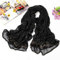 Fashion grid long scarf shawl women warm cotton silk diamond wrap scarves - Black
