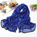 Fashion grid long scarf shawl women warm cotton silk diamond wrap scarves - Blue