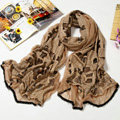 Fashion grid long scarf shawl women warm cotton silk diamond wrap scarves - Brown