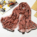 Fashion grid long scarf shawl women warm cotton silk diamond wrap scarves - Light red