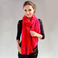 Fashion long knitted scarf shawl women warm lace woolen wrap scarves - Rose