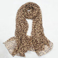 Fashion long soft animal print shawl scarf women warm silk leopard chiffon scarves - Brown