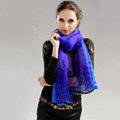 Fashion organza long scarf shawl women warm silk diamond wrap scarves - Blue