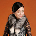 Fox fur scarf fashion women fox tail Shawl winter warm female neck wrap - Black