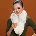 Fox fur scarf fashion women fox tail Shawl winter warm female neck wrap - White